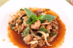 Thai spicy meat salad Royalty Free Stock Photo
