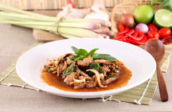 Thai spicy meat salad Royalty Free Stock Images