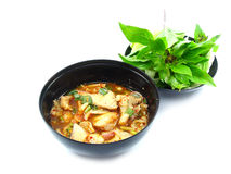 Thai spicy minced meat gill salad. On background Royalty Free Stock Images