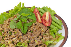 Thai Spicy minced meat salad Royalty Free Stock Images