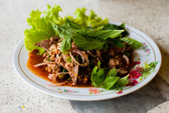 Thai Spicy minced meat salad Stock Image