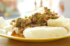 Thai spicy minced pork salad eat with sticky rice and fresh vegetable Stock Images