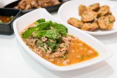 Thai Spicy minced pork salad with Northern Thai Spicy Sausage Stock Image