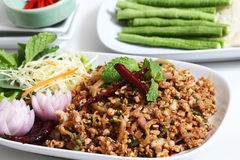 Thai spicy minced pork salad Royalty Free Stock Photo