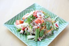 Thai spicy mixed salad. On a plate stock image