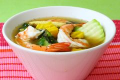 Thai Spicy Mixed Vegetable Soup with Prawns Gang Liang Goong stock photo