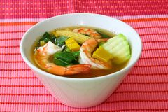 Thai Spicy Mixed Vegetable Soup with Prawns Gang Liang Goong royalty free stock image