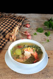 Thai Spicy Mixed Vegetable Soup with shrimp (Kang Liang Goong So Royalty Free Stock Photography
