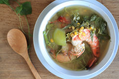 Thai Spicy Mixed Vegetable Soup with shrimp (Kang Liang Goong So Royalty Free Stock Photo