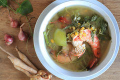 Thai Spicy Mixed Vegetable Soup with shrimp (Kang Liang Goong So Stock Image