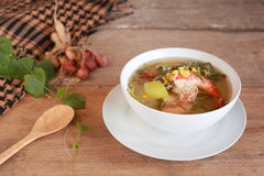 Thai Spicy Mixed Vegetable Soup with shrimp (Kang Liang Goong So Royalty Free Stock Images