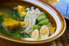 Thai Spicy Mixed Vegetable Soup, Thai Food. Stock Photo