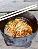 Thai spicy noodle in coconut shell Royalty Free Stock Image