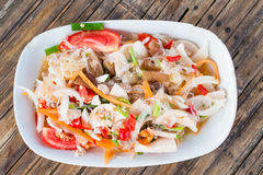 Thai spicy noodle salad. With tomato stock photos