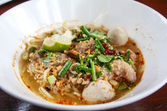 Thai Spicy Noodle ,Tom Yum with pork royalty free stock photo