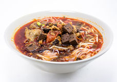 Thai spicy noodle. In the white bow Royalty Free Stock Photos