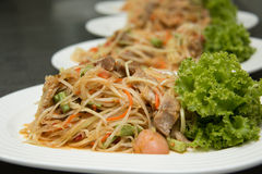 Thai Spicy papaya salad on plate. Cuisine asia stock photo