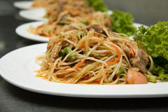 Thai Spicy papaya salad on plate. Cuisine asia royalty free stock photography