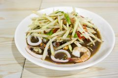 Thai Spicy papaya salad with seafood, Famous Thai food,. `Somtum stock image