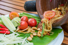Thai spicy papaya salad. Som tum ,thai famous cuisine,from mortar ready to serve stock images