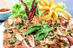 Thai spicy pork salad. Thai spicy porkloin salad Royalty Free Stock Image
