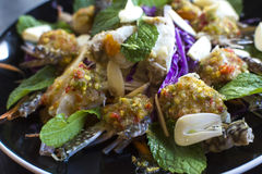 Thai Spicy Raw Crabs Salad. Thai Spicy Sauce on top of raw crabs Royalty Free Stock Photography