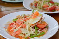 Thai spicy salad. Thai  spicy salad  , mixed  vegetable , papaya , egg and  dried salted prawn Stock Photos