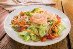 Thai spicy salad glass noodles with shrimp Stock Image