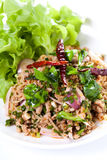 Thai spicy salad with minced and pork , thai food Royalty Free Stock Photography