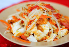 thai spicy salad , mixed vegetable , papaya , egg and dr Stock Photo