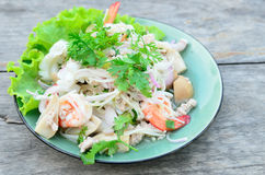 Thai spicy salad with seafood Royalty Free Stock Image