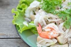 Thai spicy salad with seafood Stock Photos