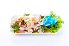 Thai spicy salad with shrimp and mix vegetable Stock Image