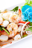 Thai spicy salad with shrimp and mix vegetable Stock Photo