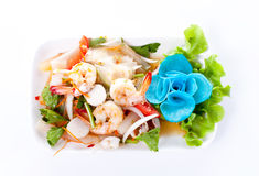 Thai spicy salad with shrimp and mix vegetable Royalty Free Stock Photos