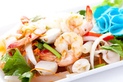 Thai spicy salad with shrimp and mix vegetable Royalty Free Stock Images