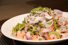 Thai Spicy salad with  shrimp and vegetables Royalty Free Stock Photography