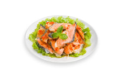 Thai spicy salmon salad royalty free stock photos
