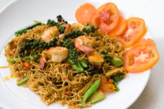 Thai spicy seafood noodle stock photography