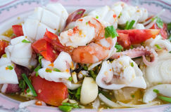 Thai spicy seafood salad Royalty Free Stock Photo