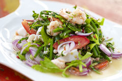 Thai spicy seafood salad. In sunlight Royalty Free Stock Images
