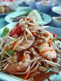 Thai spicy Seafood somtam. With shrimp Royalty Free Stock Photos