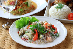 Thai spicy seafood with vermicelli salad. Royalty Free Stock Photo