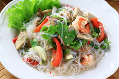 Thai spicy seafood with vermicelli salad. Royalty Free Stock Photos