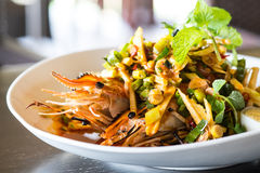 Thai spicy shrimp salad. With lemon grass and mint Stock Photo
