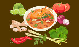 Thai spicy shrimp soup Stock Image