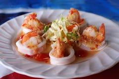 Thai spicy shrimp and squid salad Stock Image