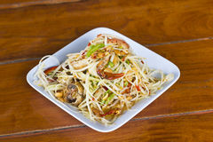 Thai spicy Som Tam with salted crab. Thai papaya salad with salted crab Royalty Free Stock Photography