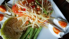 Thai spicy somtum thai for the asian cuisine. Royalty Free Stock Image