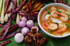 Thai spicy soup with red curry and shrimp Royalty Free Stock Photo